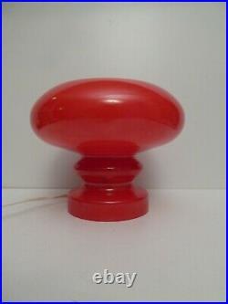 VINTAGE MID CENTURY MUSHROOM TABLE LAMP GLASS 1960s RED