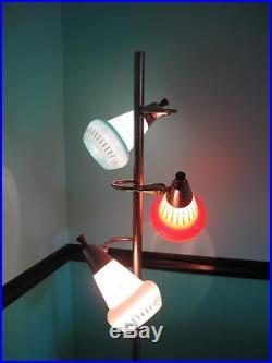 VINTAGE MID CENTURY RETRO MOD POLE LAMP FLOOR LAMP TURQUOISE ORANGE WHITE GLASS