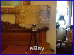 Vintage MID Century Tubular Metal Table Lamp Fiber Glass Brutalist Design Shade