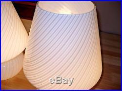 VINTAGE MID CENTURY Venini Vetri PAIR MURANO GLASS SWIRL MUSHROOM LAMPS ITALY
