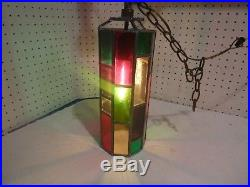 VINTAGE MOD SWAG LAMP STAINED LEADEd GLASS PANEL HANGING LIGHT MID CENTURY