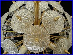 VINTAGE RETRO 60s SPUTNIK CHANDELIER ART GLASS CRYSTAL DISKS MID CENTURY DECO