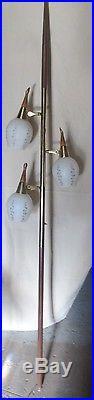 Vintage Retro Midcentury Modern Danish Era 3 Glass Shade Tension Pole Lamp