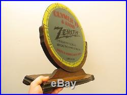 Vintage Zenith Radio Television Antique MID Century Old Glass Advertising Sign