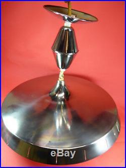 VIRDEN MID CENTURY MODERNUFOCEILING LIGHTATOMIC AGE SILVER/GLASS SHADE c278