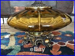 VIntage Hollywood Regency Amber Glass Mid-Century Modern Large Table Lamp