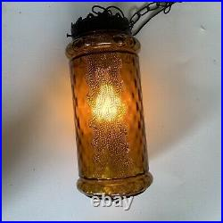 VIntage Mid Century Mod Amber Rootbeer Glass Swag Lamp WITH PLUG & SWITCH