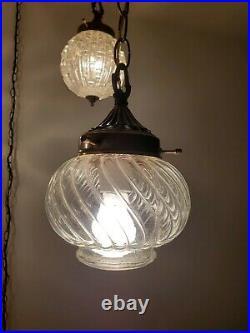 VTG 5 Globe Swag Light Hanging Plug In Lamp Regency Glass Mid Century Chandelier