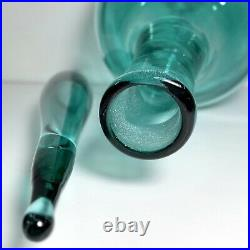 VTG 60s Blenko Signed Blue Mid Century Modern Genie Bottle Decanter Flame MCM