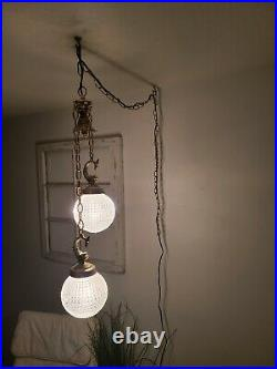 VTG Double Swag Hanging Light Clear Glass Globe Mid Century Lamp Plug