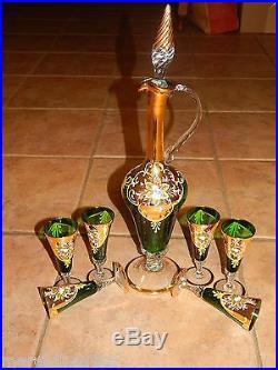 Vtg Italian MID Century 7 Pc Green Glass Decanter & Wine Glasses Set, Gold