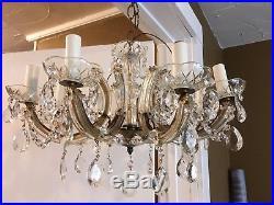 VTG Italian Murano Glass Chandelier Mid Century Prisms Venetian Crystal 1950s