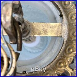 VTG L&L WMC Mid Century CAST METAL Frosted GLASS CEILING PENDANT LIGHT FIXTURE