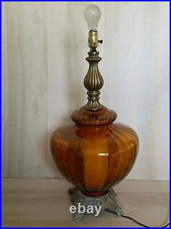 VTG Mid Century Amber Optic Art Glass Table Lamp with Night Lite