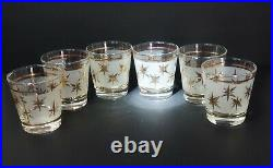 VTG Mid Century Dominion 6 Glasses Lowball Rocks Frosted Atomic Starburst Gold