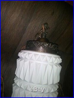 VTG Mid Century Double HANGING Ceiling SWAG Light LAMP White GLASS Shade