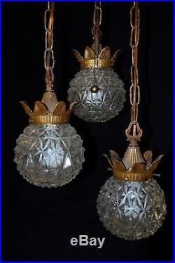VTG Mid Century Gold Glass Triple Globe Swag Chain Hollywood Regency Lamp Lights