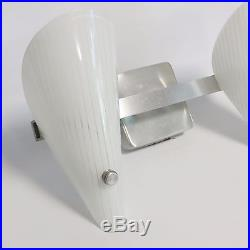 VTG Mid Century Modern Atomic Slip Shade Wall Light Sconce Double Glass UNTESTED