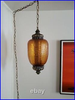 VTG Mid Century Modern Hanging Swag Light Optic Amber Glass & Brass 19