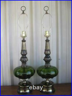 VTG Mid Century Modern Set of 2 Green Ribbed Glass Table Lamps Retro 1960's