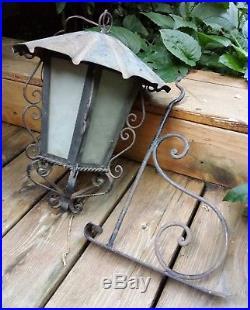 VTG Mid Century Wrought Iron Rustic Gothic Light Bridge Porch Lamp 6 Glass panel