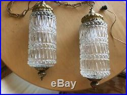 VTG Pair of Mid Century Modern Pendant Ribbed Milk Glass Ceiling Light Fixtures