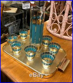 VTG set of 6 Fred Press Glasses Low Ball Turquoise & Gold + Pitcher Mid Century