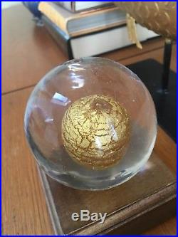 Venini italia gold yolk sphere signed clear glass mid century Wirkkala