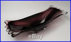 Vibrant Purple Italian Murano Art Glass Centrepiece Bowl MID Century Eames Era