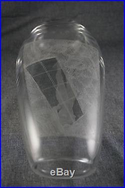 Vicke Lindstrand KOSTA Glass NUDE WOMAN Etched VASE 12 Elliptical Mid Century