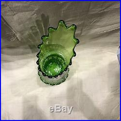 Viking HUGE Art Glass Floor Vase GREEN Swung Stretched Mid Century AWESOME