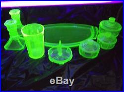 Vintage 11 Piece Mid Century Uranium Depression Green Vaseline Glass Vanity Set