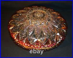 Vintage 1950 mid-century gilt brass & fine cut glass flying saucer pendant light