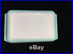 Vintage 1950s Mid Century Pyrex Aqua Turquoise Starburst 575 B Casserole Dish
