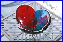 Vintage 1958 Mid-Century BLENKO Tri-color Lobed Red, Green, Blue Glass Bowl 3