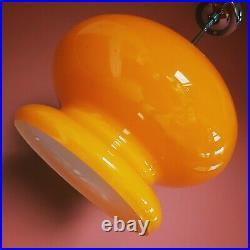 Vintage 1960's Orange Opaline Glass Pendant Light Czechoslovakia