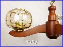 Vintage 1960's Teak Ceiling Light Triple Bubble Glass Pendant Mid-Century Danish