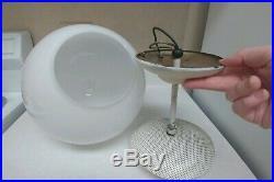 Vintage 1960s Atomic MID CENTURY MODERN Large Glass hanging Orb Globe LIGHT lamp