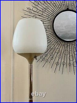 Vintage 50s 60s Frosted Glass Wood Floor Lamp Mid Century Modern Laurel