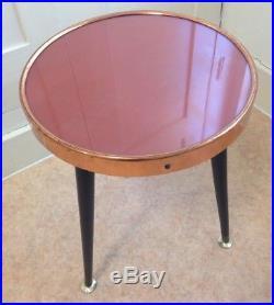 Vintage 50s Mid Century Side Coffee Table Copper Glass Top Dansette Legs Retro