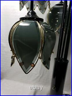 Vintage 5 Light Waterfall Black Glass Flower Petal Lotus Tulip Mid Century Lamp