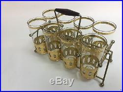 Vintage 60s Mid Century 22kt Gold Leaf Culver Cocktail Drinking Glasses 12oz