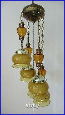 Vintage 70's MID Century Swag Hanging Caramel & Amber Glass 4 Pendant Lamp
