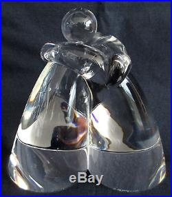 Vintage 70s Steuben Crystal Glass LOVE Embrace Figurines Paperweight Mid Century