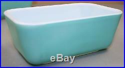 Vintage 8 Piece Pyrex Turquoise Mid Century Modern Refrigerator Set with Lids