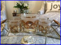 Vintage ART DECO Culver Drinking Glasses with Caddy ICE BUCKET MID CENTURY MOD