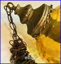 Vintage Amber Glass Hanging Light Chain Swag Lamp Pendant Mid Century MCM Large