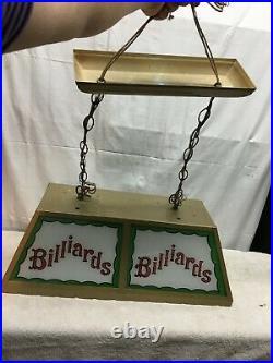 Vintage BILLIARDS LIGHT FIXTURE mid century hanging Metal Glass pool table light