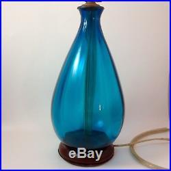 Vintage BLENKO Turquoise Blue Glass Table Lamp Mid Century Modern