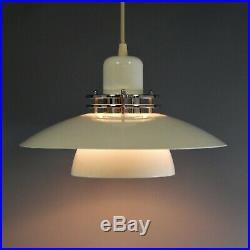 Vintage Belid Small Cream Chrome Pendant Lamp Swedish Scandinavian Mid Century